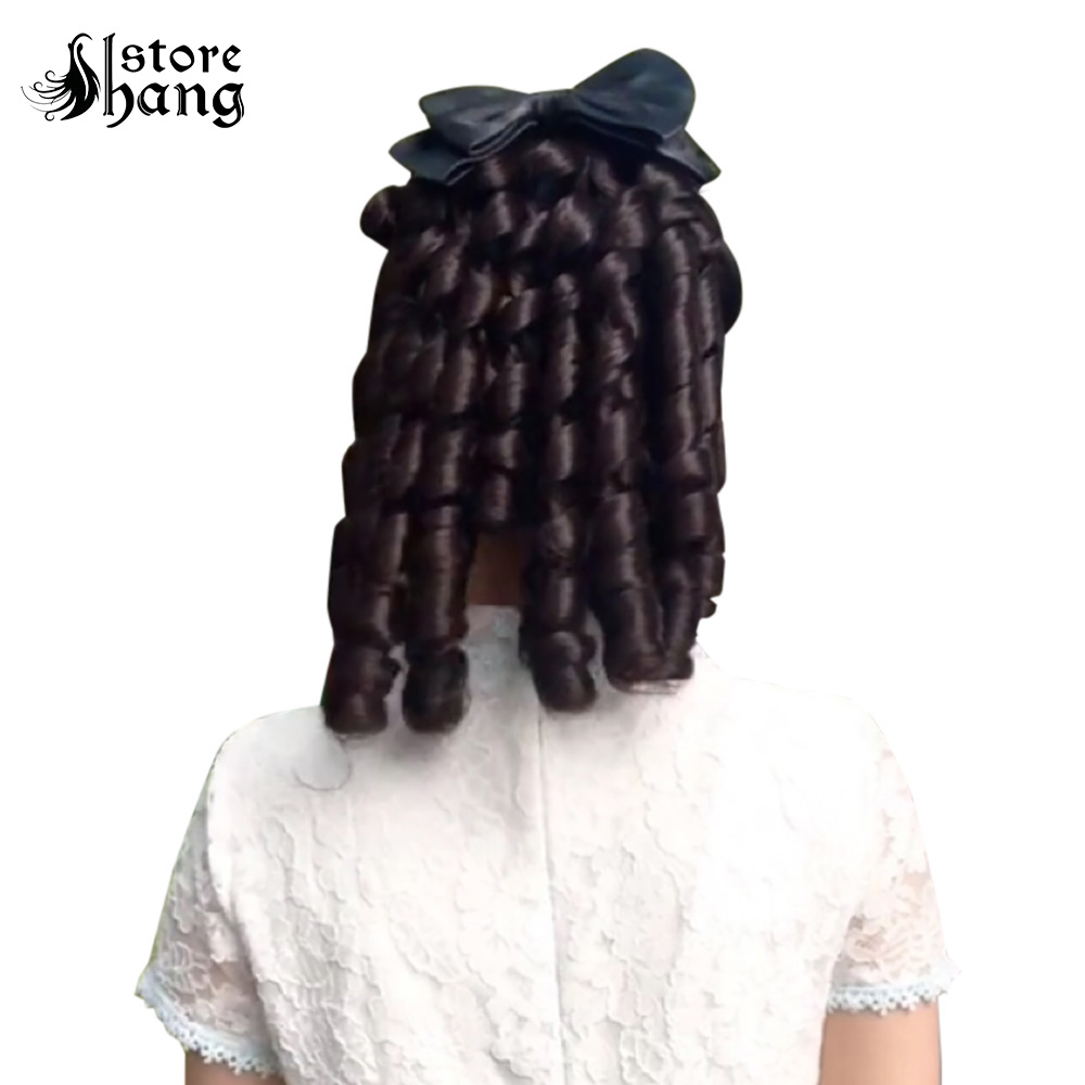 Women Romantic Ringlets Ponytail Hairpiece With Ribbon 18th Century Colonial Lady French Costume Half Wig Halloween Carnival