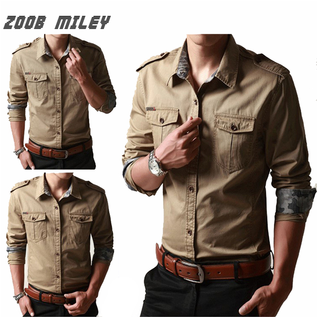 42f96871596 ZOOB MILEY Plus Size Long Sleeve Autumn Men Military Army Cargo Shirt 100% COTTON Casual Men s Work Uniform Shirts Loose Fit