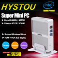 Fanless mini pc windows 10 intel core i3 5005u hystou 4005u celeron N3150 N3050 4 K PC HTPC TV Box HDMI VGA Wi-fi Computador Desktop