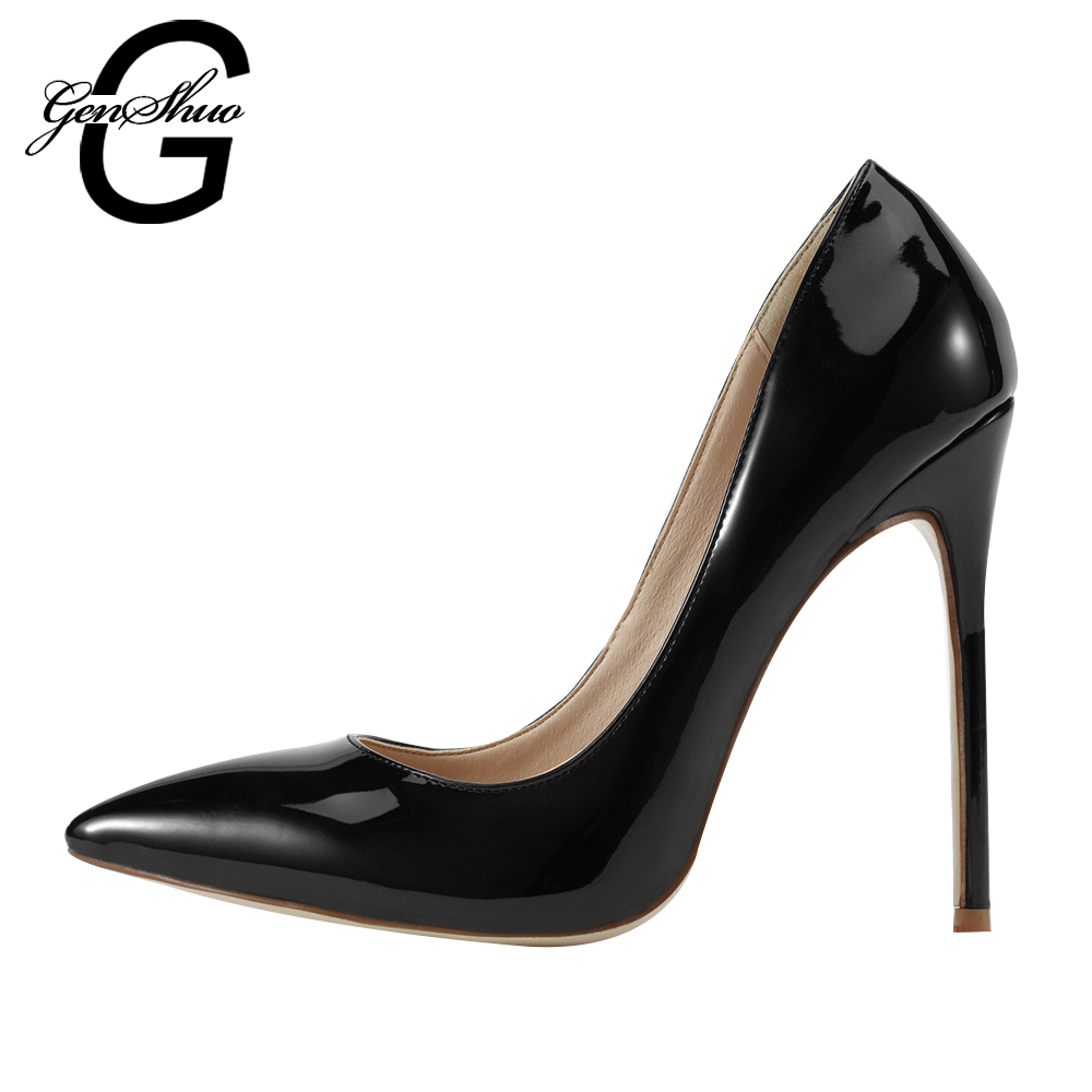 GENSHUO Women Pumps 2017 Brand High Heels Patent Leather Pointed Toe Sexy Stiletto Shoes Woman Ladies Plus Size Shoes facndinll new black patent genuine leather pointed toe rhinestone sexy high heels lace up women pumps ladies party casual shoes