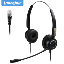 Free shipping Binaural RJ9/RJ11 headset with microphone Noise canceling phone headphones call center headset for Aastra Nortel