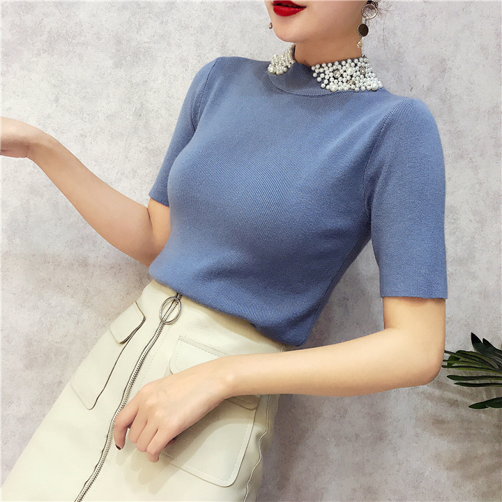 ALPHALMODA 18 Summer Ladies Short-sleeved Pearl Collar Pullovers Casual Slim Knit Sweater Women Studded Fashion Jumpers 11
