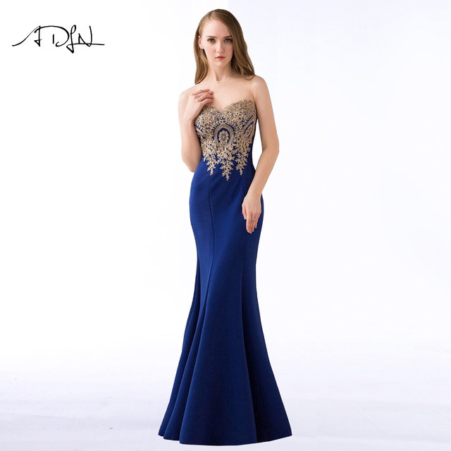 Online Shop ADLN 2017 Stock Mermaid Evening Dresses Royal Blue Party ...