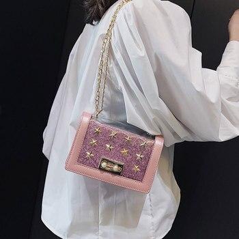 Clear Crossbody Purse | Women Transparent Mini PVC Jelly Crossbody Bag Girls Summer Sequin Shoulder Handbag Metal Star Rivets Flap Clear Messenger Purse