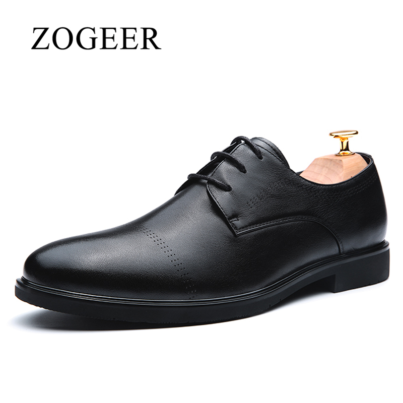 ZOGEER Genuine Leather Men Shoes, Vintage Official Business Formal Dress Shoes Mens Oxfords, Black Italian Men's Leather Shoes top quality crocodile grain black oxfords mens dress shoes genuine leather business shoes mens formal wedding shoes