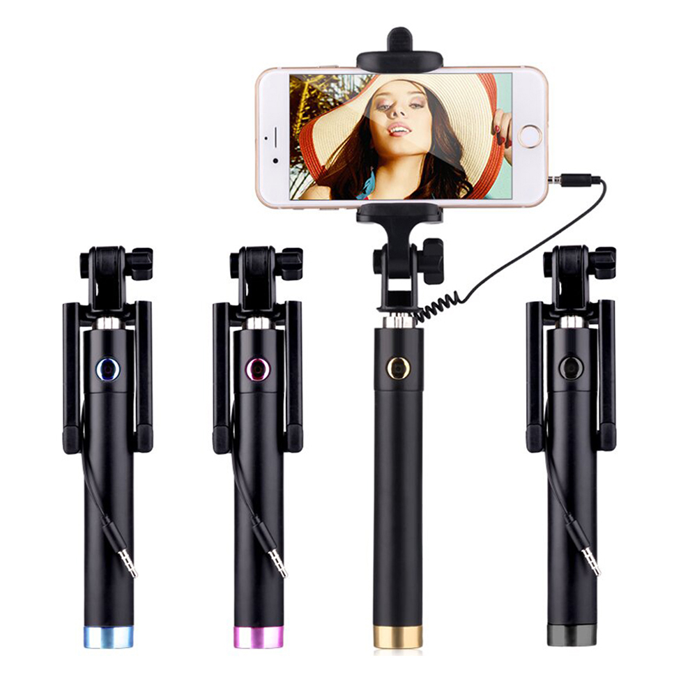 Wihoo Wired Mini Selfie Stick Tripod Common Extendable Monopod For Iphone Android Samsung Huawei Xiaomi