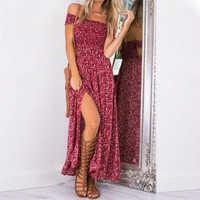 Bohemian Summer Dress 2020 Red Floral Casual Maxi Dress For Women Boho Dresses Off Shoulder Long Beach Vestidos Sexy Sundress