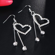 Bohopan Fashion Elegant Crystal Dangle Earrings Wedding Party Drop For Women Simple Heart Jewelry Accessories