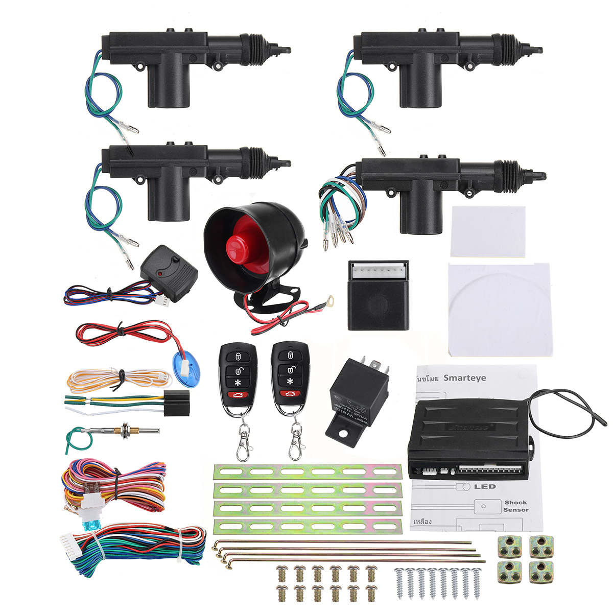 One set Remote Car Alarm Keyless Entry Security + 4 Door Power Lock Actuator Motor Kit door lock motor general purpose actuator kit door lock motor keyless entry concentrated for universal car 12 v power door lock