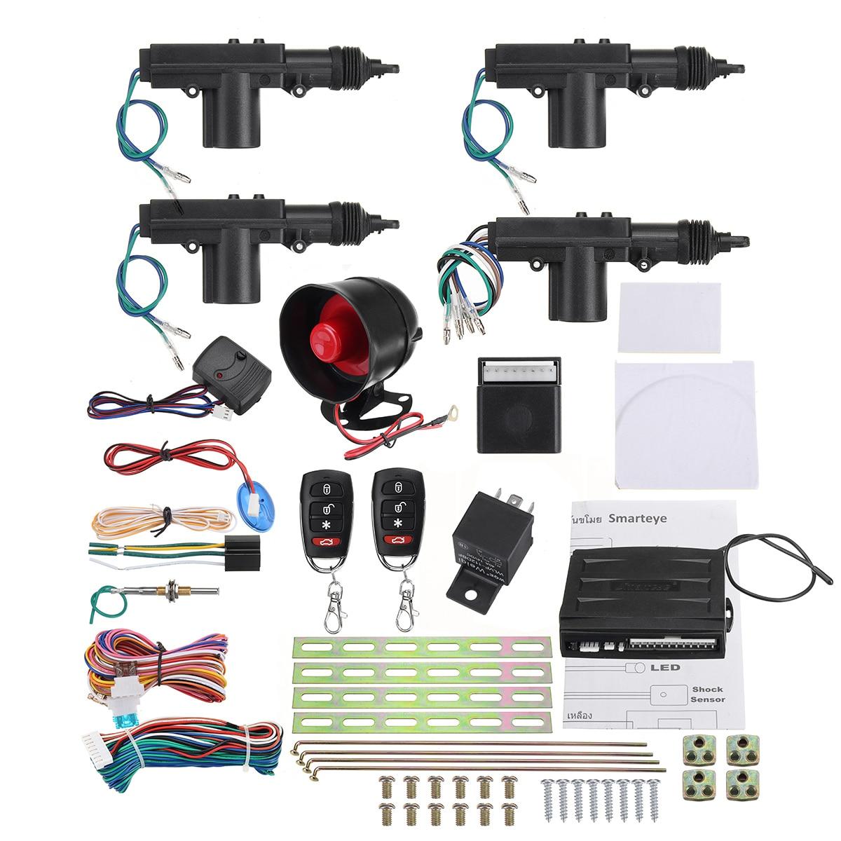 One set Remote Car Alarm Keyless Entry Security + 4 Door Power Lock Actuator Motor Kit