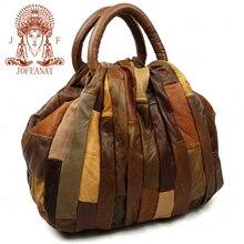 JOFEANAY 2016 new leather stitching fashion brand handbag Retro portable Shoulder Messenger Bag Lady Leather stitching bag