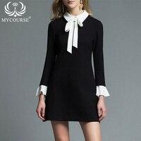 MYCOURSE Sonbahar Tarzı Yay Tasarımcı Uzun Kollu Dökümlü Elbise Moda Yeni Pist kadın Elbiseleri Siyah İş Çalışma A-Line Elbise