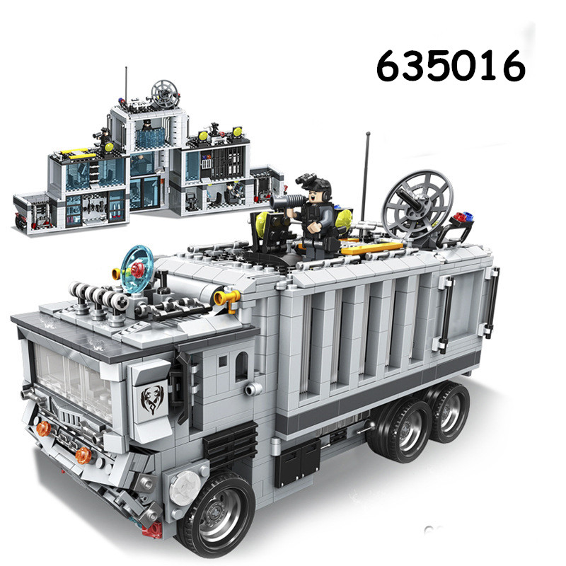 Military SWAT Mobile Command Vehicles Police Set Building Bricks Blocks DIY Educational Assembled Childens Toys Christmas  Gifts police station swat hotel police doll military series 3d model building blocks construction eductional bricks building block set