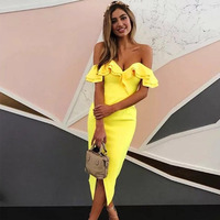 Seamyla New Women Bandage Dress Summer Sexy Ruffles Club Dress Runway Bodycon Off The Shourlder Celebrity Party Dresses Vestidos