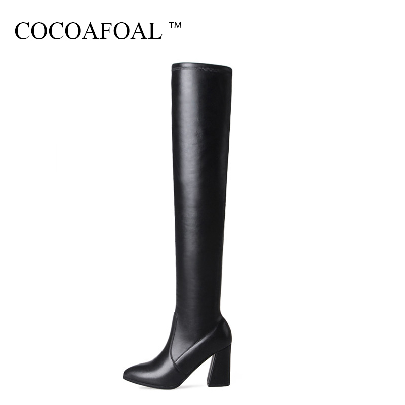 COCOAFOAL Women's Winter High Heeled Shoes Sexy Genuine Leather Over The Knee Boots Plus Size 33 41 Black Thigh High Boots 2018 cocoafoal women sexy black high heeled shoes genuine leather thigh high boots plus size 33 41 winter chelsea over the knee boots