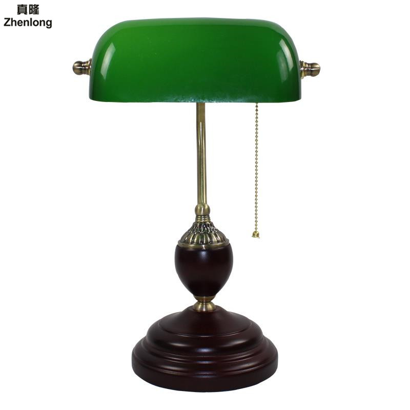 Retro Table Lights Emerald Green Glass Power Bank Office Desk Lamp Red Wood Vintage Reading Light Student Lampe E27 Book Lamps reading for first student s book