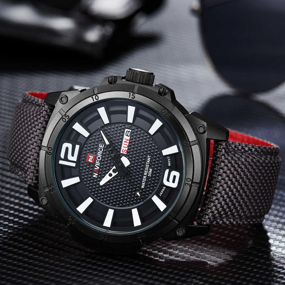 NAVIFORCE Top marque montres militaires hommes décontracté toile cuir Sport Quartz montres homme horloge Relogio Masculino