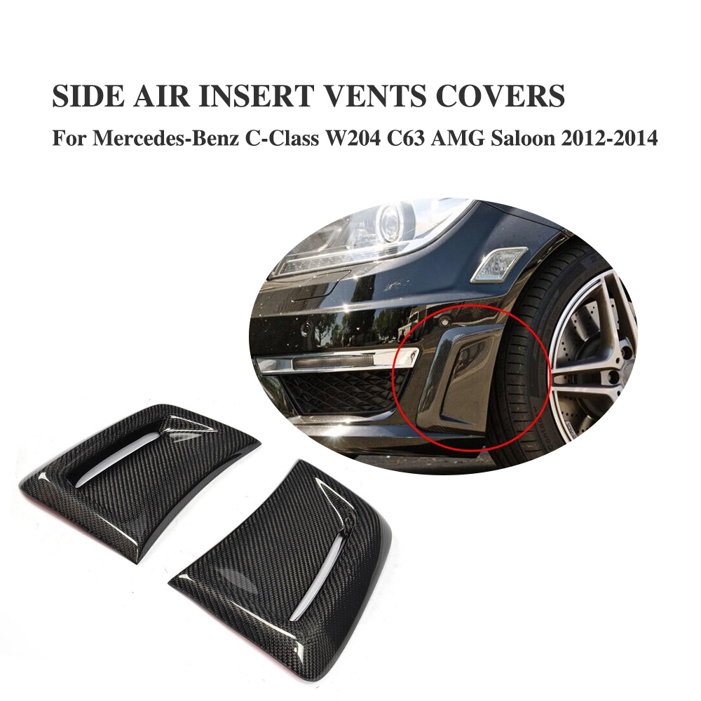 For Mercedes Benz C Class W204 C63 AMG Carbon Fiber Front Side Bumper Air Vents Fenders Decorative Scoop 2012 2014