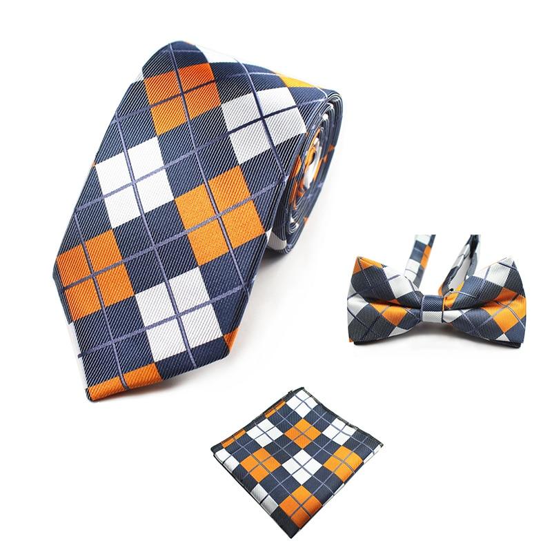 GUSLESON Fashion Wedding Floral Necktie & Pocket Square Towel & Bow Tie Set Mens Suit Papillon Corbatas Handkerchief Tie Gravata