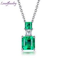 LOVERJEWELRY Solid 18K White Gold Princess Cut Emerald Pendant Natural Diamond Speical Design for Elegant Women Pendant Jewelry