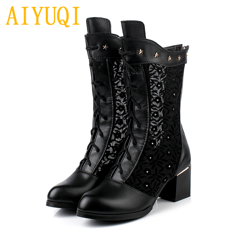 AIYUQI Women Summer Boots 2020 Spring New genuine leather Mesh Boots Women Plus size fashion high heels women shoes