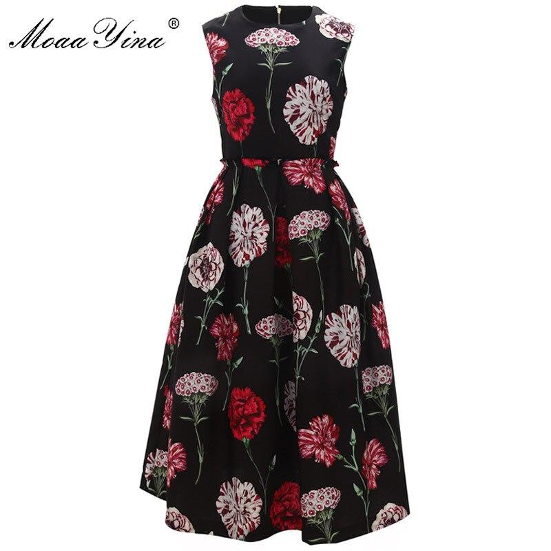 MoaaYina ファッションデザイナー滑走路ドレス春夏の女性のドレスでの休暇エレガントな花柄ボールガウンドレス  グループ上の レディース衣服 からの ドレス の中 1