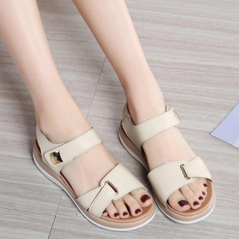 DONGNANFENG kobiety kobiece panie matka prawdziwej skóry buty sandały mieszkania miękki haczyk pętli koreański Bling lato plaża NM-1003-1