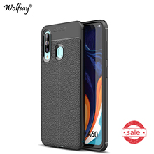 For Samsung Galaxy A60 Case Armor Luxury Rubber Silicone Phone Back Cover A606 Shell