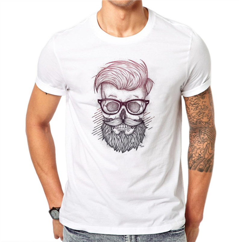 100% Cotton Beard Skull Men Fashion O-Neck Personalized 3D Print Design White T Shirt Hip Hop Plus Size 4XL Short Sleeve