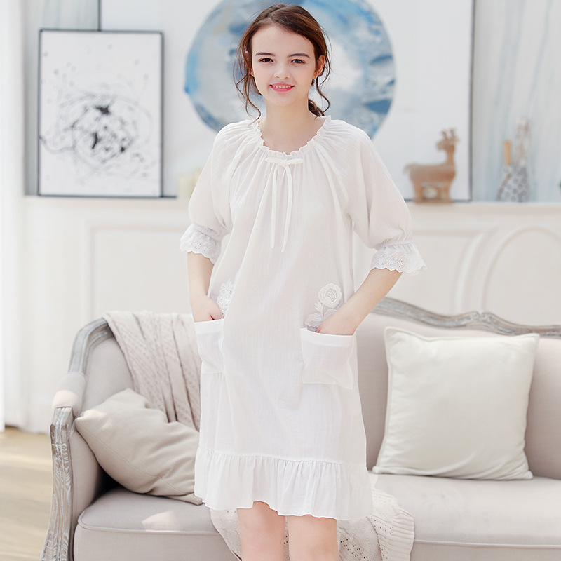 Womans Long Sleeve Nightgown Cotton Night Gown Ladies Nightdress ...