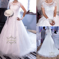 Ball Gown Wedding Dresses Short Sleeves Bride Gowns with Lace up Back Crystals Lace Appliques Plus Size Bridal Party Dress