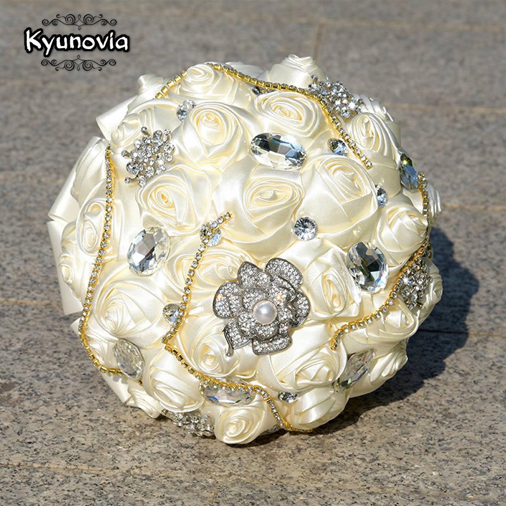 Kyunovia 6 Arten Kristall Burgund Hochzeit Bouquet De Mariee Satin