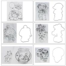 Silicone Transparent Scrapbook Stamp Seal Embossing Die Set Embossed Mold DIY Boy Scarecrow Mushroom House Ladybug Album Die