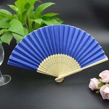 High Quality Wedding Silk fan with Bamboo ribs,Hand Fan Chinese Craft fabric different color H110