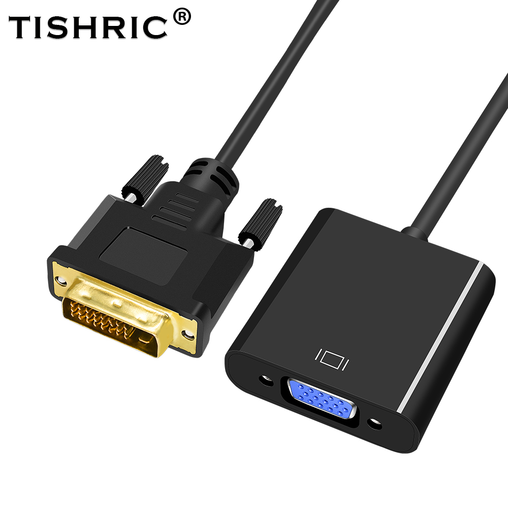 Tishric Hot Sale DVI-D DVI D To VGA 24+1 25Pin Video Card Male To Female Cable Converter For Projector Monitor Adapter For PC image