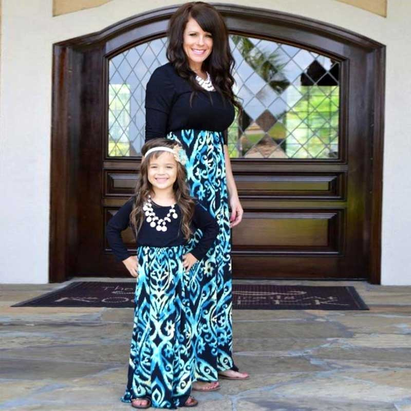 MVUPP māte meitas kleitas ģimenes izskats melna zila garām - Bērnu apģērbi