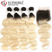 Медовая блондинка Remy Пучки человеческих волос с кружевной застежкой 4x4 Euphoria Бразильская