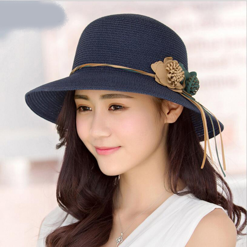 2018 Summer New Solid Floppy Straw Hats For Women Flower Accessories ladies Summer Beach Sun Caps Panama Style Hat(China)