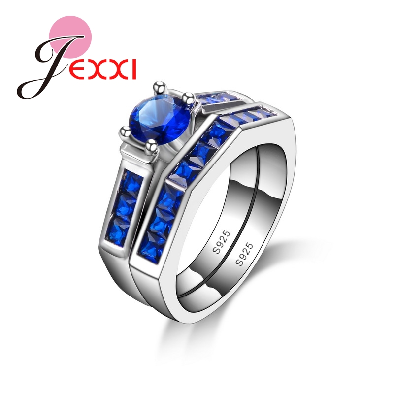 Jexxi de alta calidad de plata esterlina 925 boda anillo de compromiso  conjunto nuevo lujo azul CZ mujeres dedo Anillos joyería de moda 743adc57f16