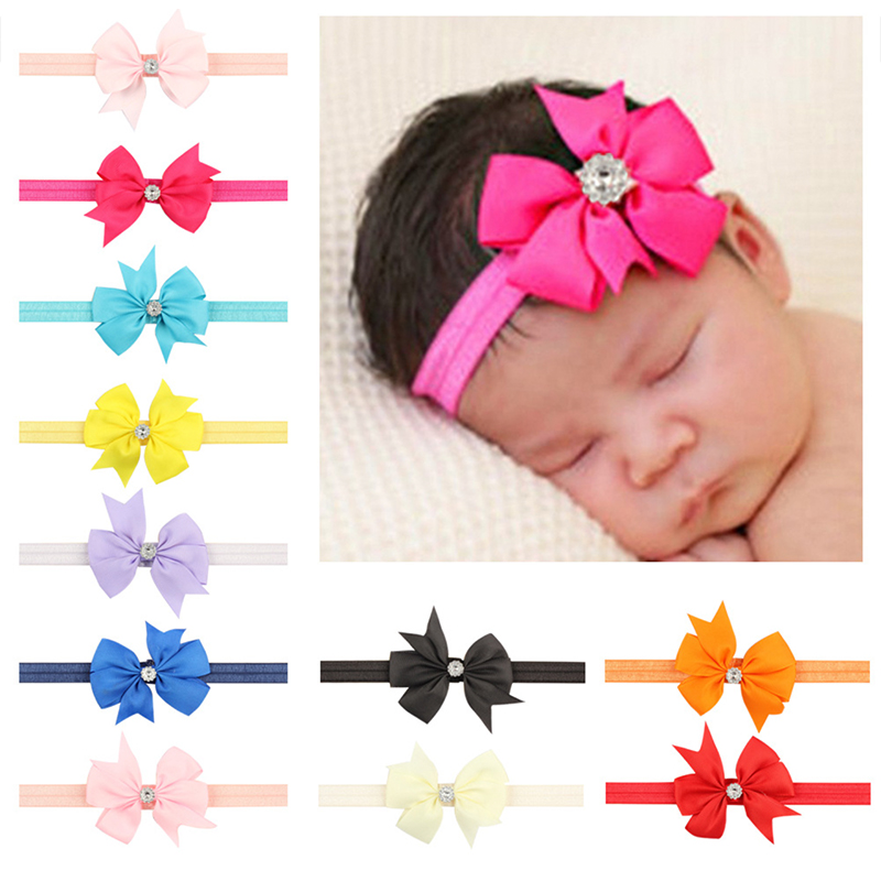 20 Colors Fashion Lovely Girls Unicorn Party Ribbon Bow With Rhinestone Headband Elastic Hair Bands Hair Wear Hair Accessories