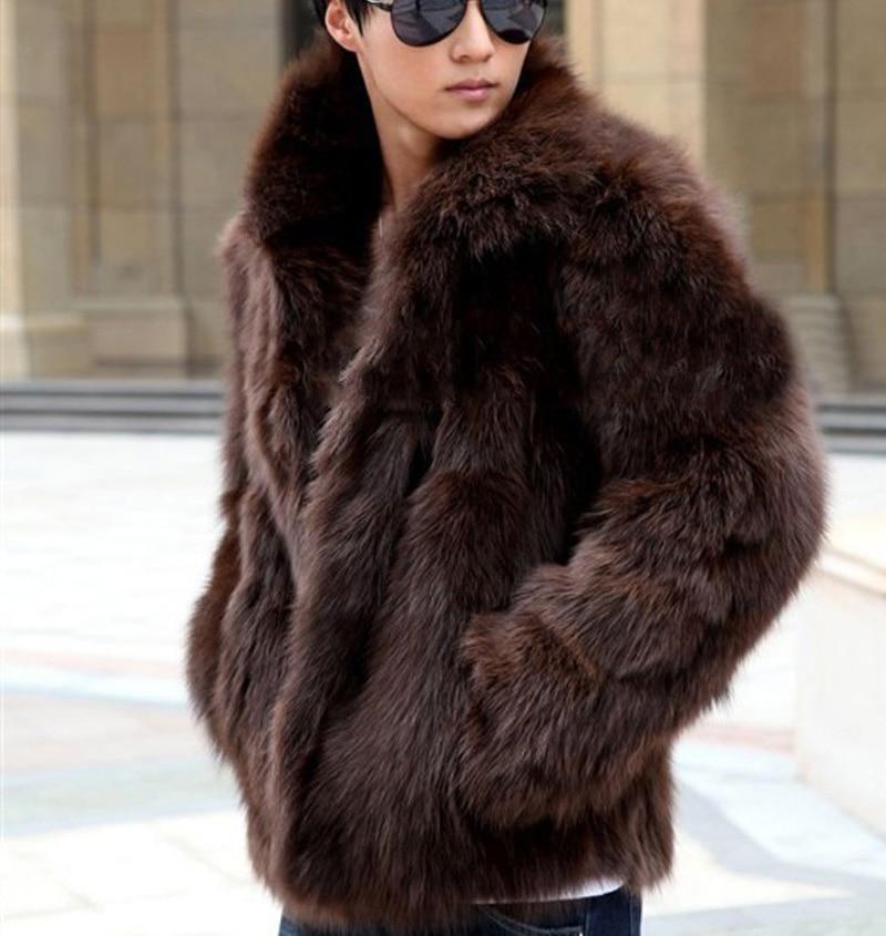Hommes Noir Fourrure Veste W687 Manteaux Blanc Renard Mâle Plus Taille La Automne Brun Hiver De marron Faux Noir blanc 2016 Xxxl Survêtement Occasionnel wzxn4CEqg