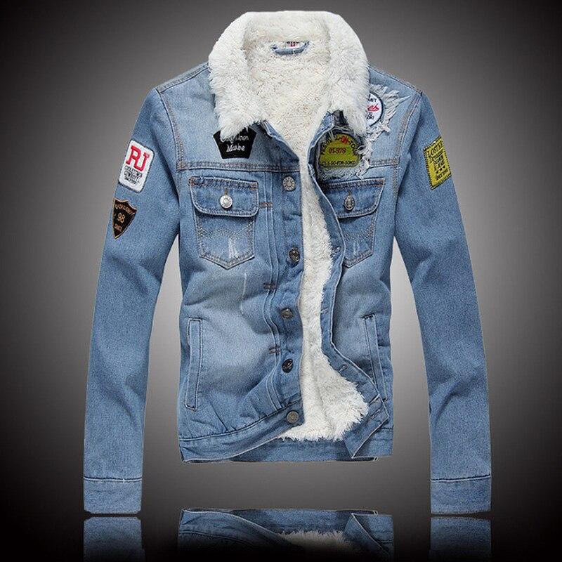 2018 Mode D'hiver Veste Pour Hommes Bleu Couleur Polaire Coton Chaud Hip Hop Denim Veste Hommes Velours Épais Manteaux Homme bomber Veste