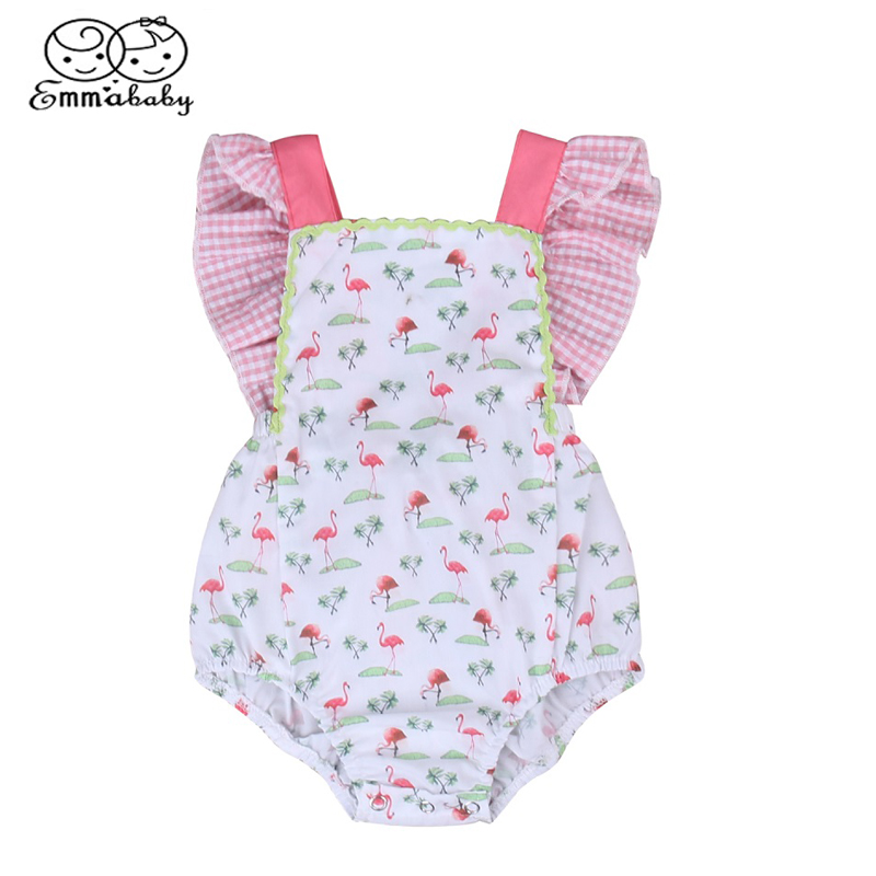 Emmababy Infant Baby Girl Sleeveless Ruffled Romper Flamingo Jumpsuit Sunsuit Outfits Clothes 0-24M summer 2017 baby kids girl boy infant summer sleeveless romper harlan jumpsuit clothes outfits 0 24m