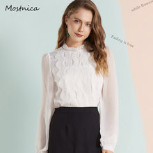 Mostnica OL Lace White Elegant Shirts for Women Formal Embroidery Chiffon Puff Sleeves Summer Woman Blouses Office Commute Tops(China)