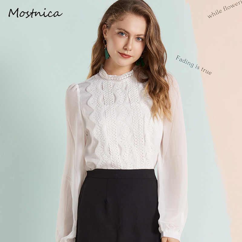 Mostnica OL レースホワイトエレガントシャツ女性のための正式な刺繍シフォンパフスリーブ夏の女性のブラウスオフィス通勤トップス