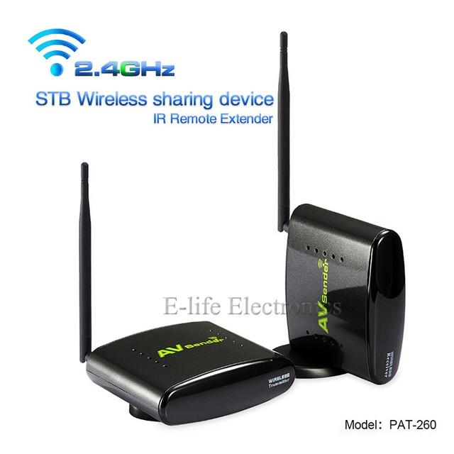PAT-260 2.4G 350 M AV Sender Transmissor Receptor Com IR Extender Remoto Sem Fio Inteligente set-top box partilha