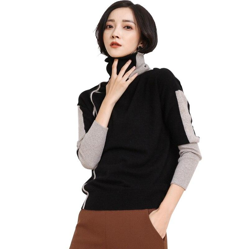 Nouvelle Bloc Tricoté En Dilly Femmes Mode Chandail gml7286 Roulé Col Cachemire Noir De Couleur Conception sQthdr