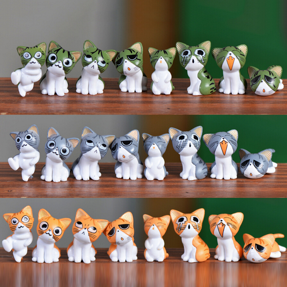 8pcs Kawaii Cheese Cat Miniature Figurine Fairy Miniatures Figurines japanese anime children figure world Action Toy Figures image