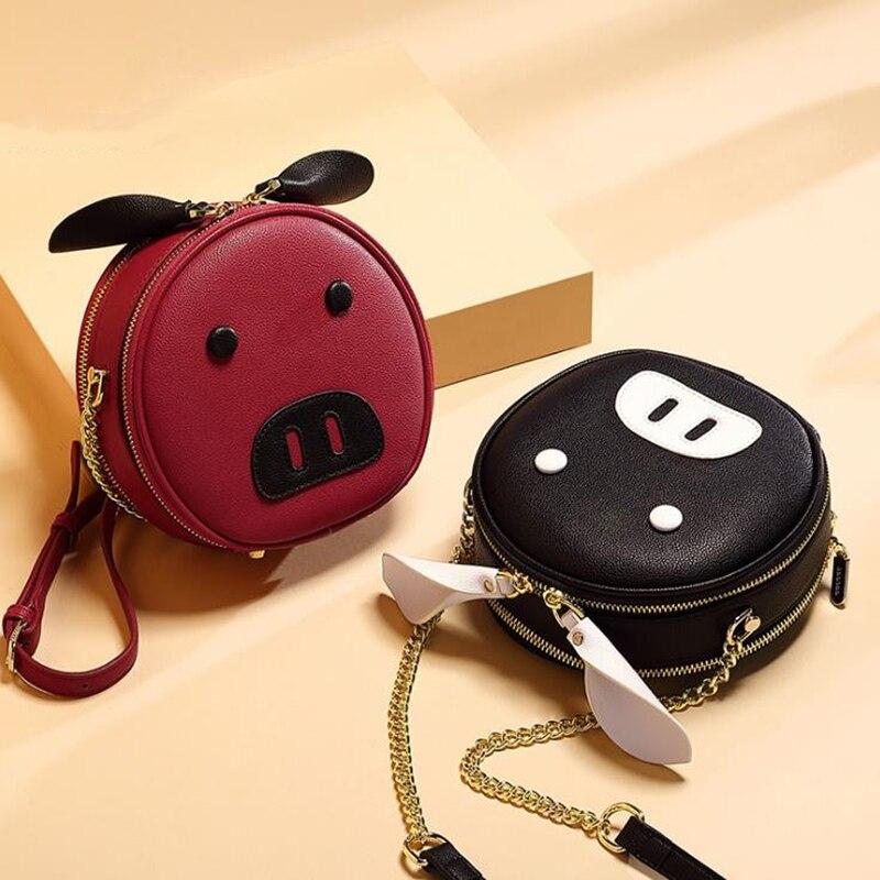 2019 nuevo verano Popular pequeño fresco de moda redondo pequeño bolso bandolera bolso de dibujos animados PU bolsa de cerdo Guangzhou para mujer bolsa - 4