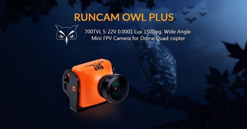 100% Original RUNCAM OWL PLUS 700TVL Mini FPV Camera 0.0001 Lux 150 Wide Angle IR Block 5-22V PAL / NTSC for Drone Quadcopter runcam owl plus 700tvl mini fpv camera ntsc